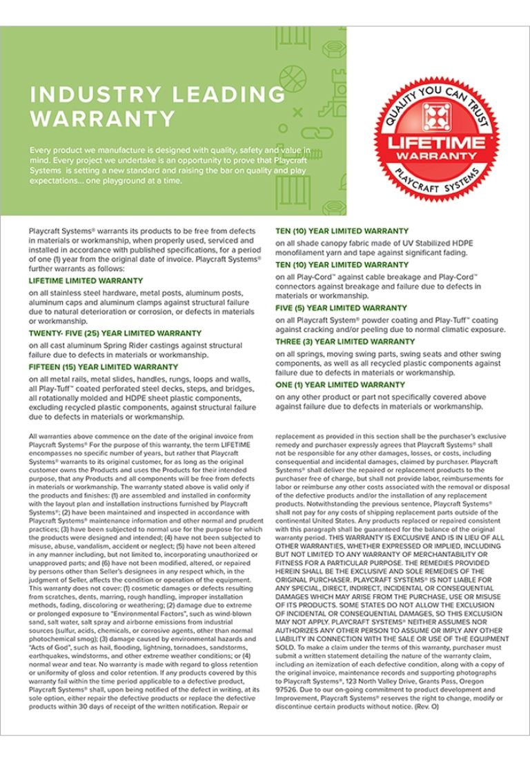 Playcraft Systems-2019-Warranty